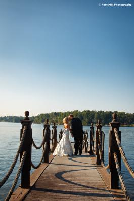 Couple Kissing on Dock
