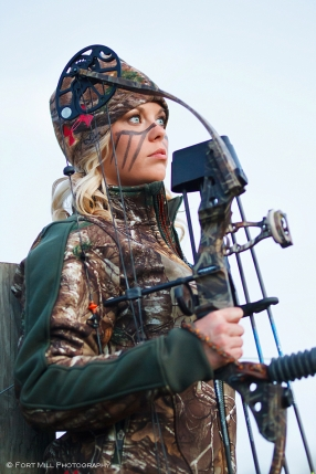 Female in Under Armour Hunting Gear