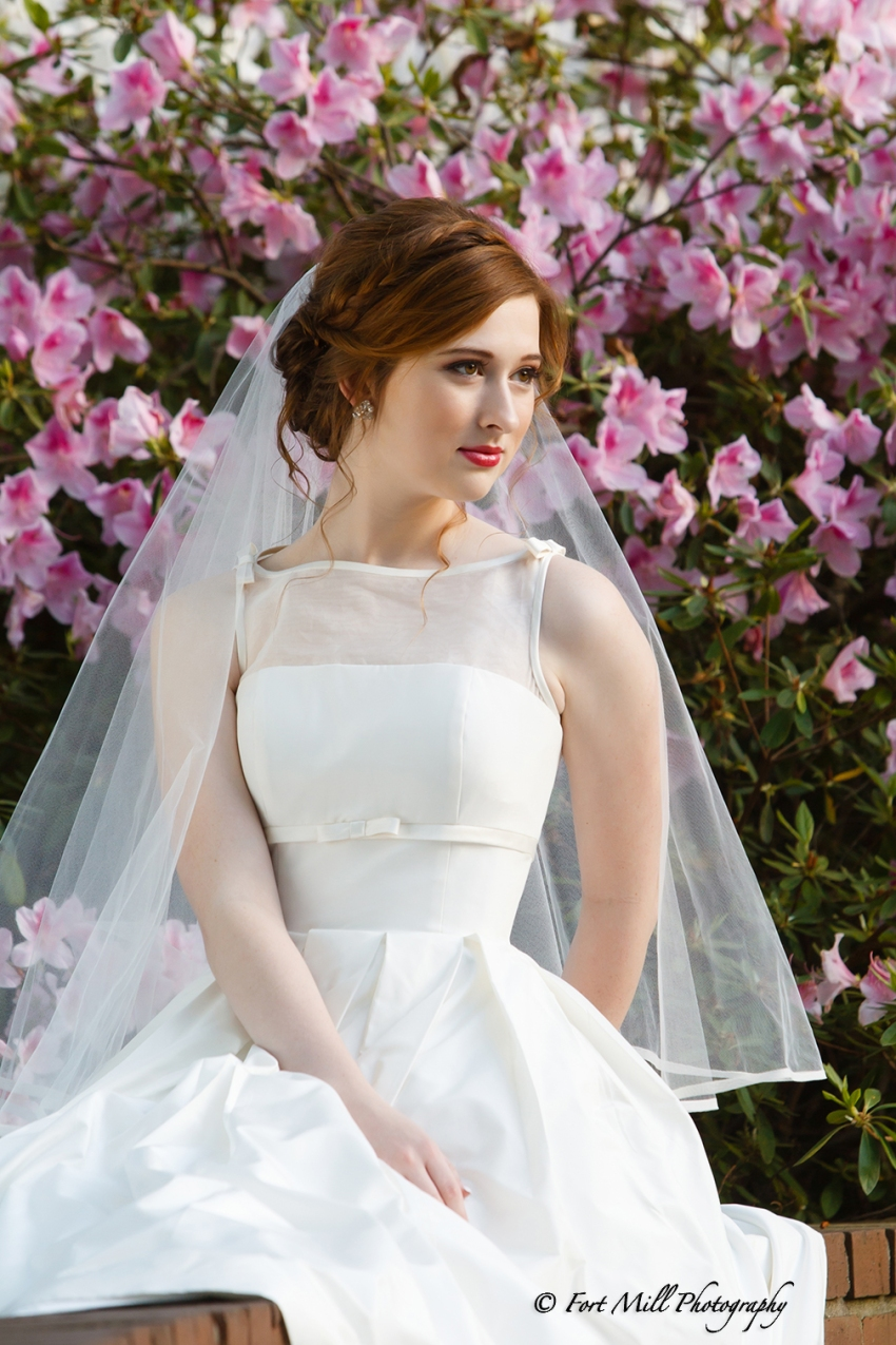Bride in azaleas